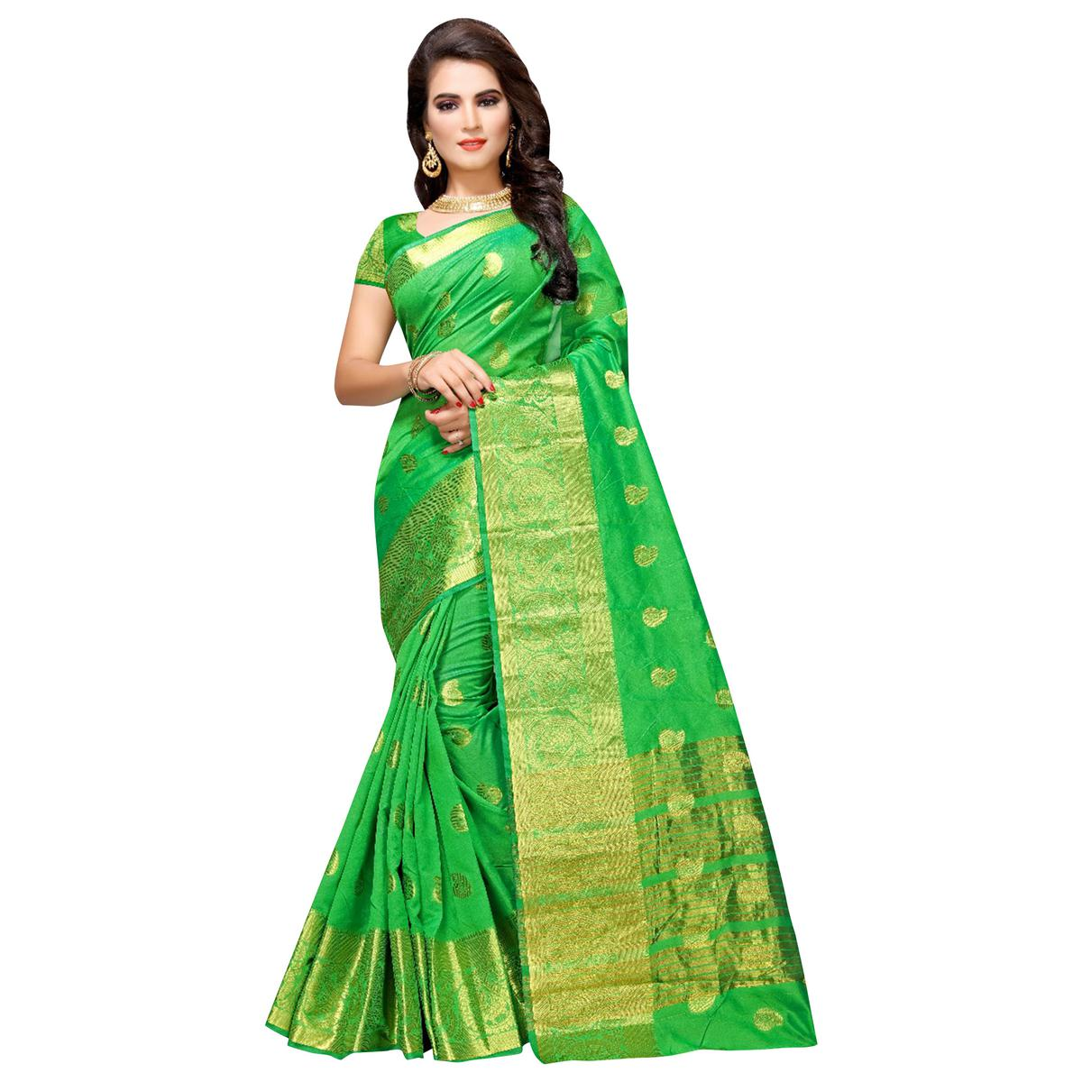 Glowing Green Colored Festive Wear Woven Cotton Silk Saree