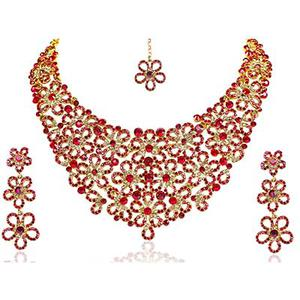 Exclusive Red Necklace Set With Maang Tikka