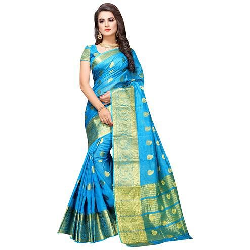 Mesmeric Sky Blue Colored Festive Wear Woven Cotton Silk Saree
