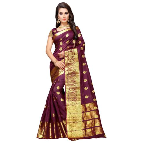 Unique Dark Wine Colored Festive Wear Woven Cotton Silk Saree
