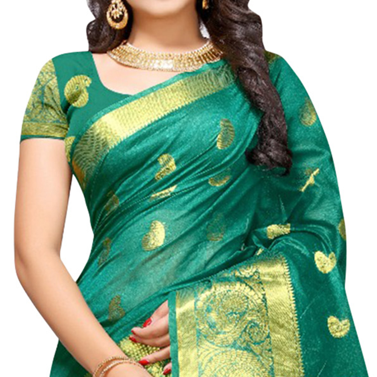 Beautiful Turquoise Green Colored Festive Wear Woven Cotton Silk Saree