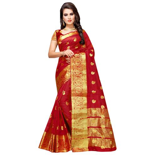 Classy Red Colored Festive Wear Woven Cotton Silk Saree