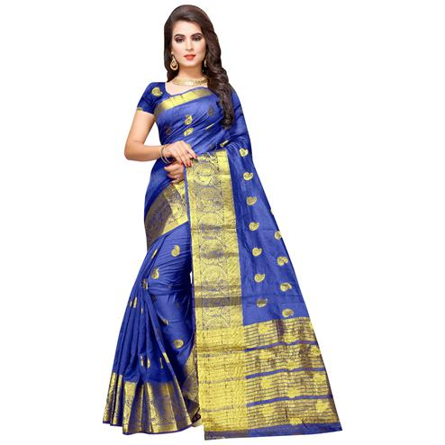 Demanding Blue Colored Festive Wear Woven Cotton Silk Saree