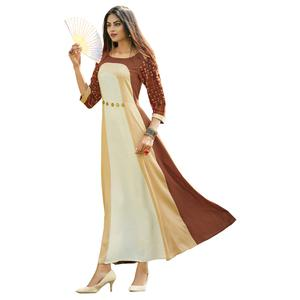 Adorning Beige-Brown Colored Partywear Printed Rayon Long Kurti
