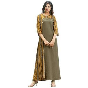 Beautiful Olive Green Colored Partywear Printed Rayon Long Kurti