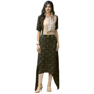 Attractive Deep Green Colored Partywear Printed Rayon Long Kurti