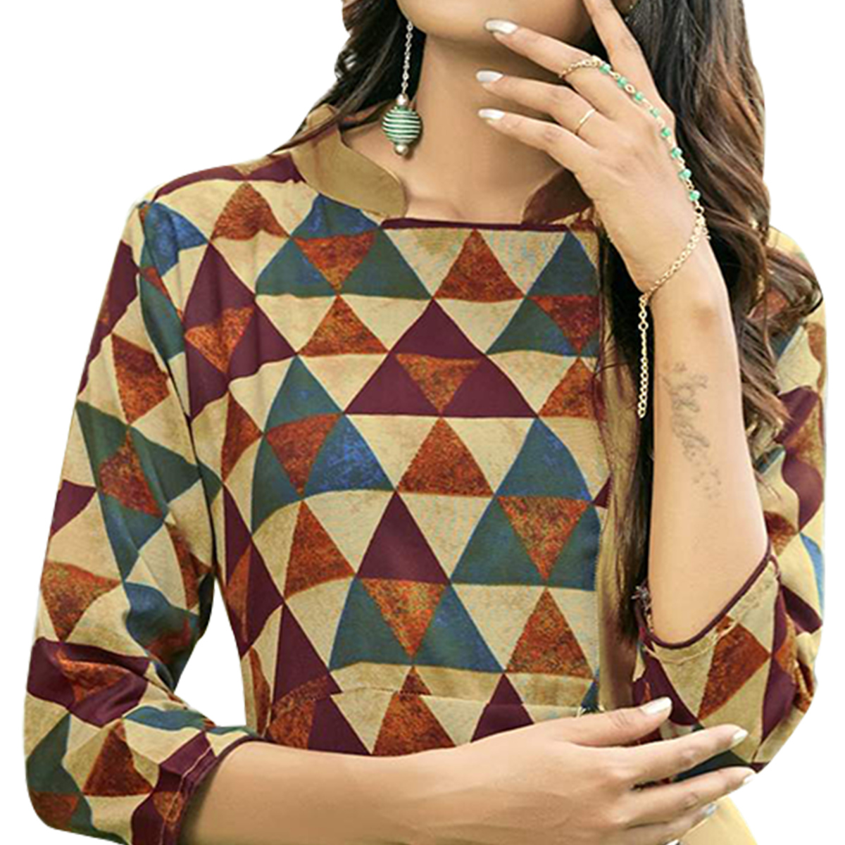 Unique Multi Colored Partywear Printed Rayon Long Kurti