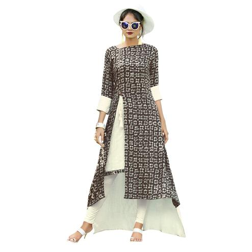 Eye-Catching Brown-Off White Colored Partywear Printed Rayon Long Kurti