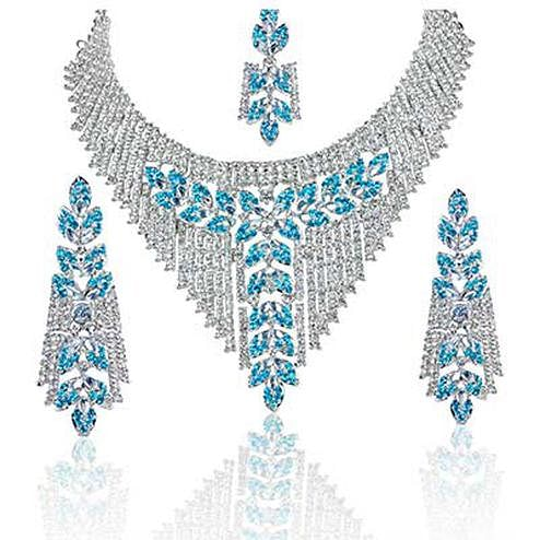 Blue Necklace Set Rhodium Finish With Maang Tikka
