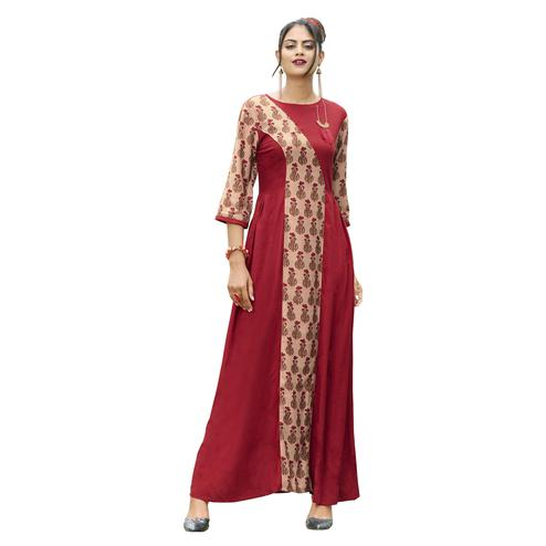 Exceptional Red Colored Partywear Printed Rayon Long Kurti
