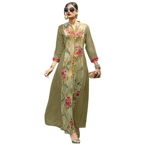 Lovely Olive Green Colored Partywear Printed Rayon Long Kurti