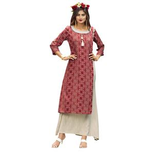 Demanding Maroon Colored Partywear Printed Rayon Long Kurti