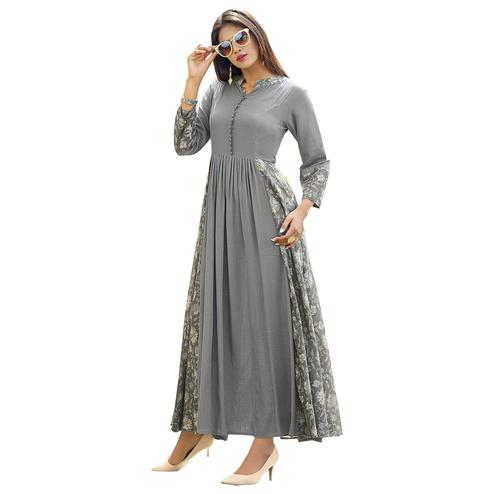 Trendy Gray Colored Partywear Printed Rayon Long Kurti