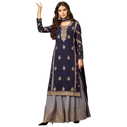 Demanding Navy Blue Colored Partywear Embroidered Georgette Palazzo Suit