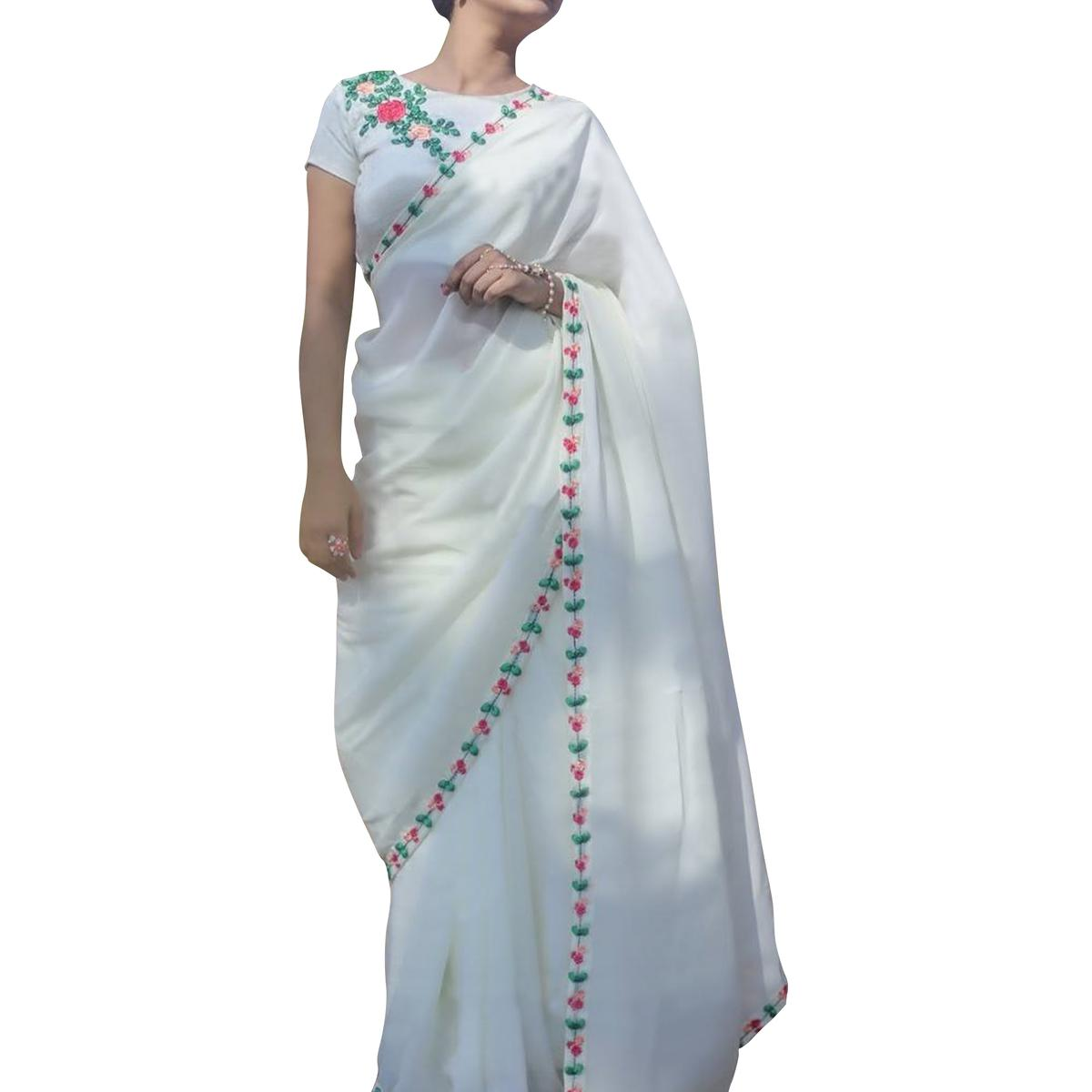 Amazing White Colored Partywear Embroidered Georgette Saree