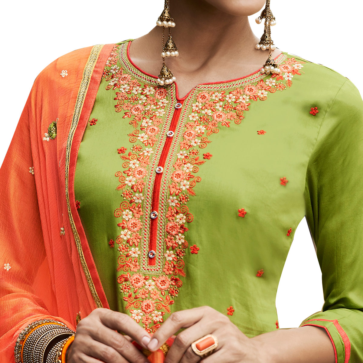 Refreshing Light Green Colored Partywear Embroidered Cotton Patiala Dress