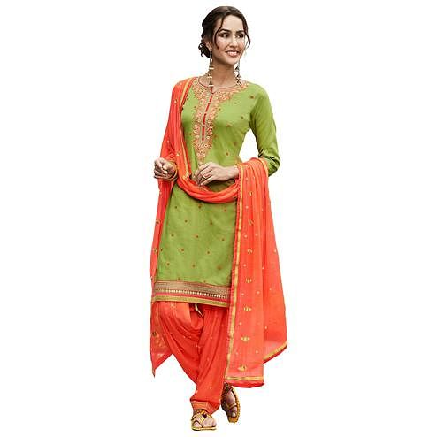 Refreshing Light Green Colored Partywear Embroidered Cotton Patiyala Dress