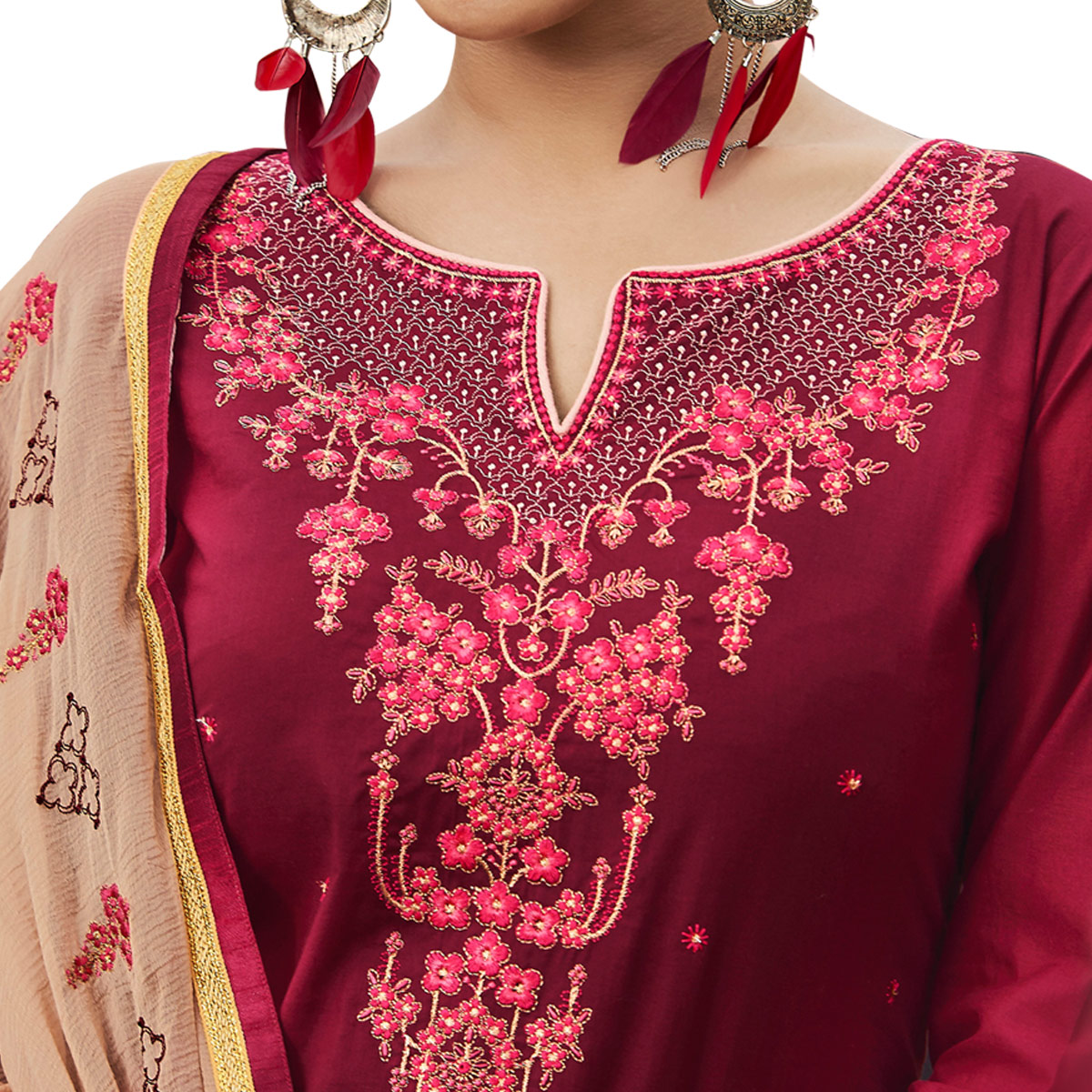 Amazing Maroon Colored Partywear Embroidered Cotton Patiala Dress