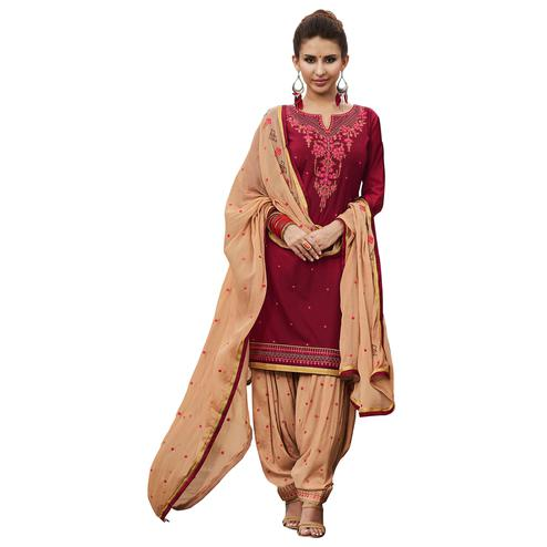 Amazing Maroon Colored Partywear Embroidered Cotton Patiyala Dress