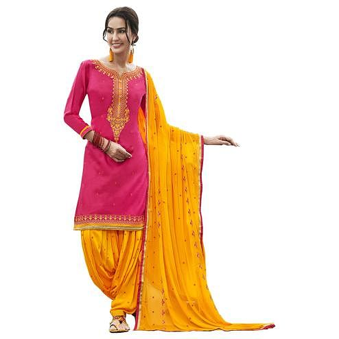 Charming Pink Colored Partywear Embroidered Cotton Patiyala Dress