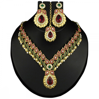 Green & Pink Austrian Stone Gold Finish Necklace Sets With Maang Tikka