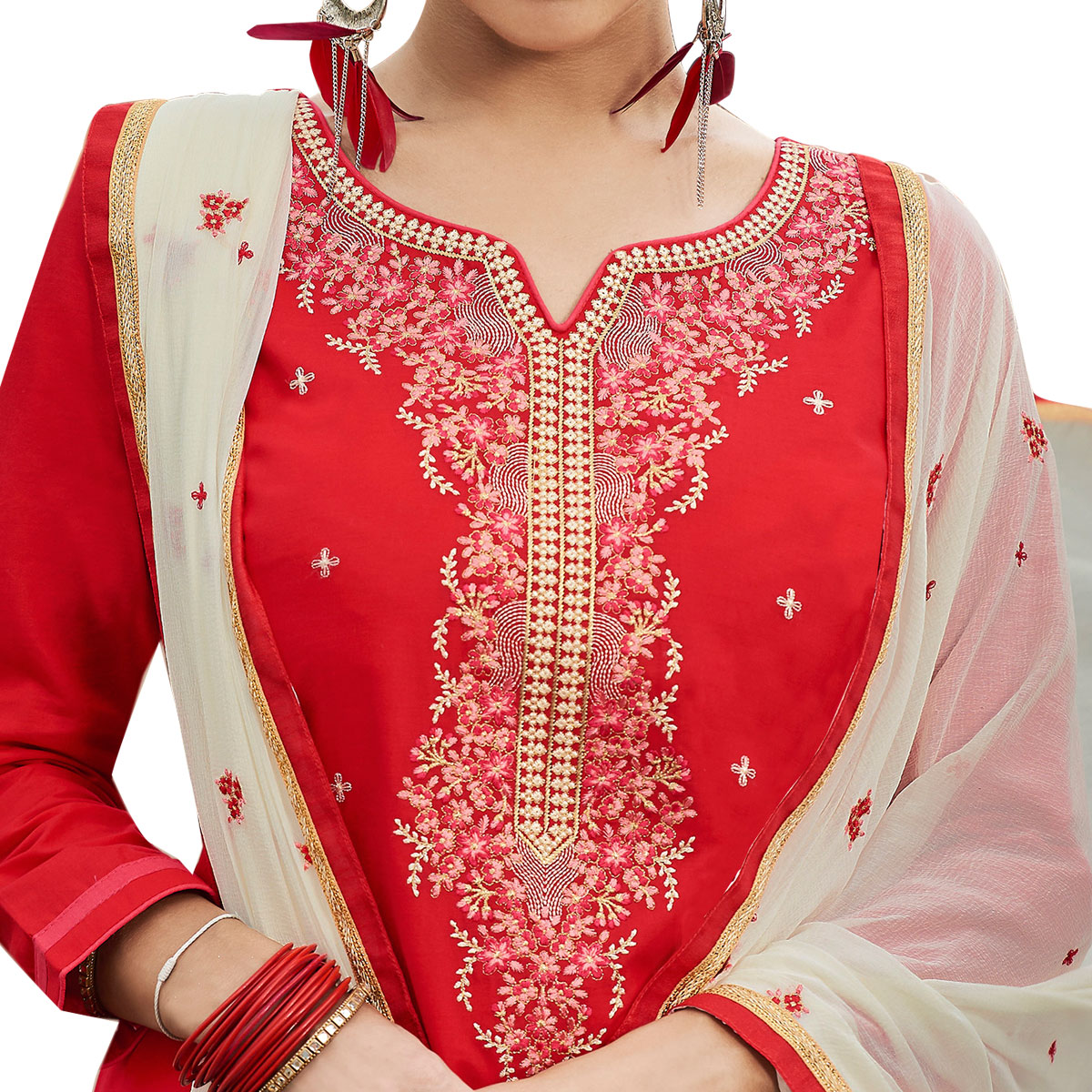 Glowing Red Colored Partywear Embroidered Cotton Patiala Dress