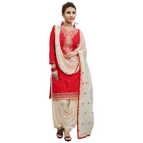 Glowing Red Colored Partywear Embroidered Cotton Patiyala Dress