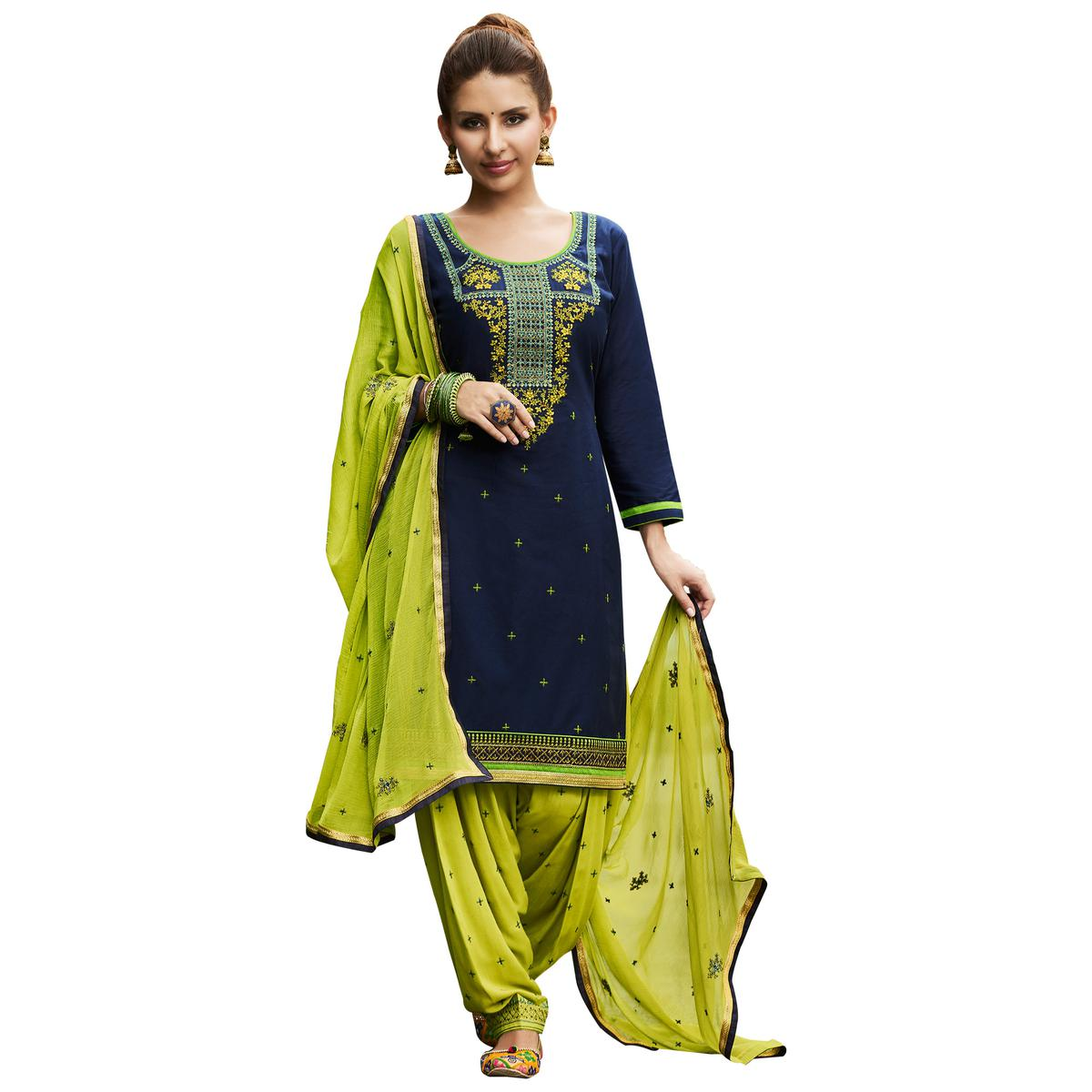 Desiring Navy Blue Colored Partywear Embroidered Cotton Patiyala Dress