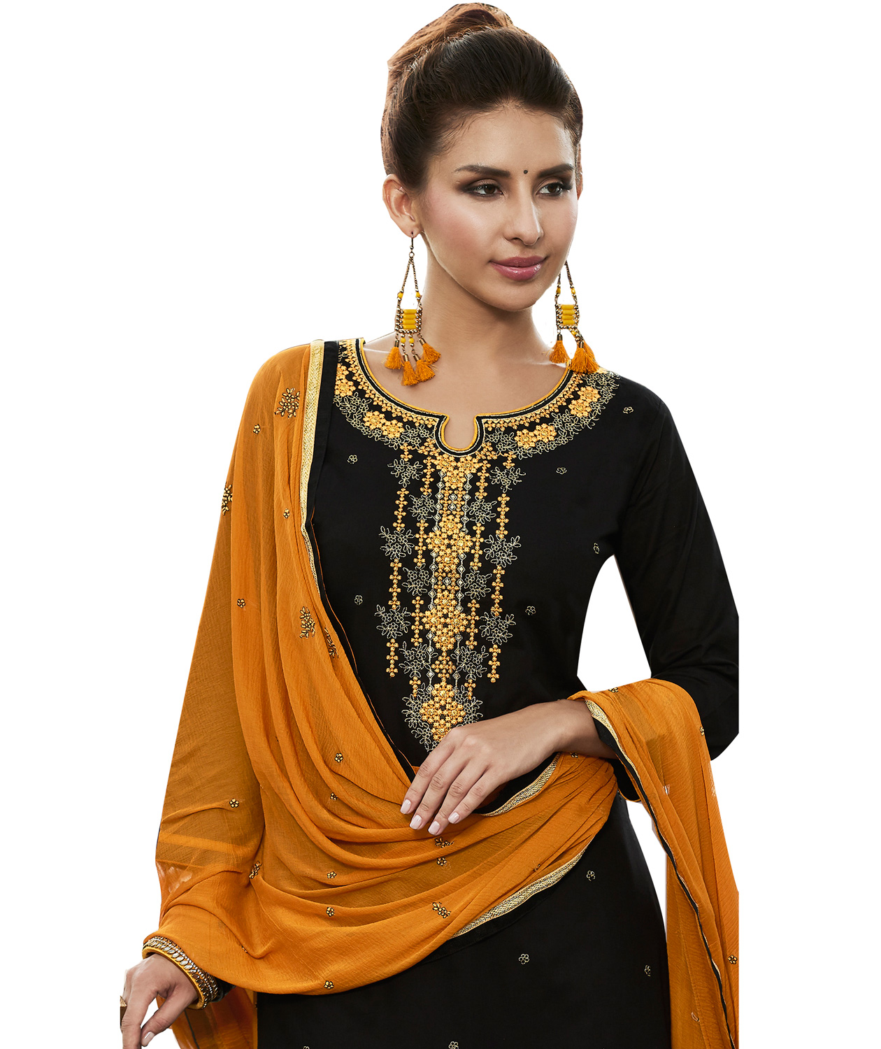 Exceptional Dark Green Colored Partywear Embroidered Cotton Patiala Dress