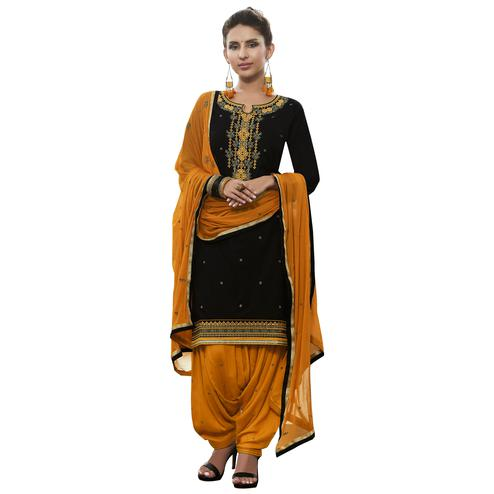 Exceptional Dark Green Colored Partywear Embroidered Cotton Patiyala Dress