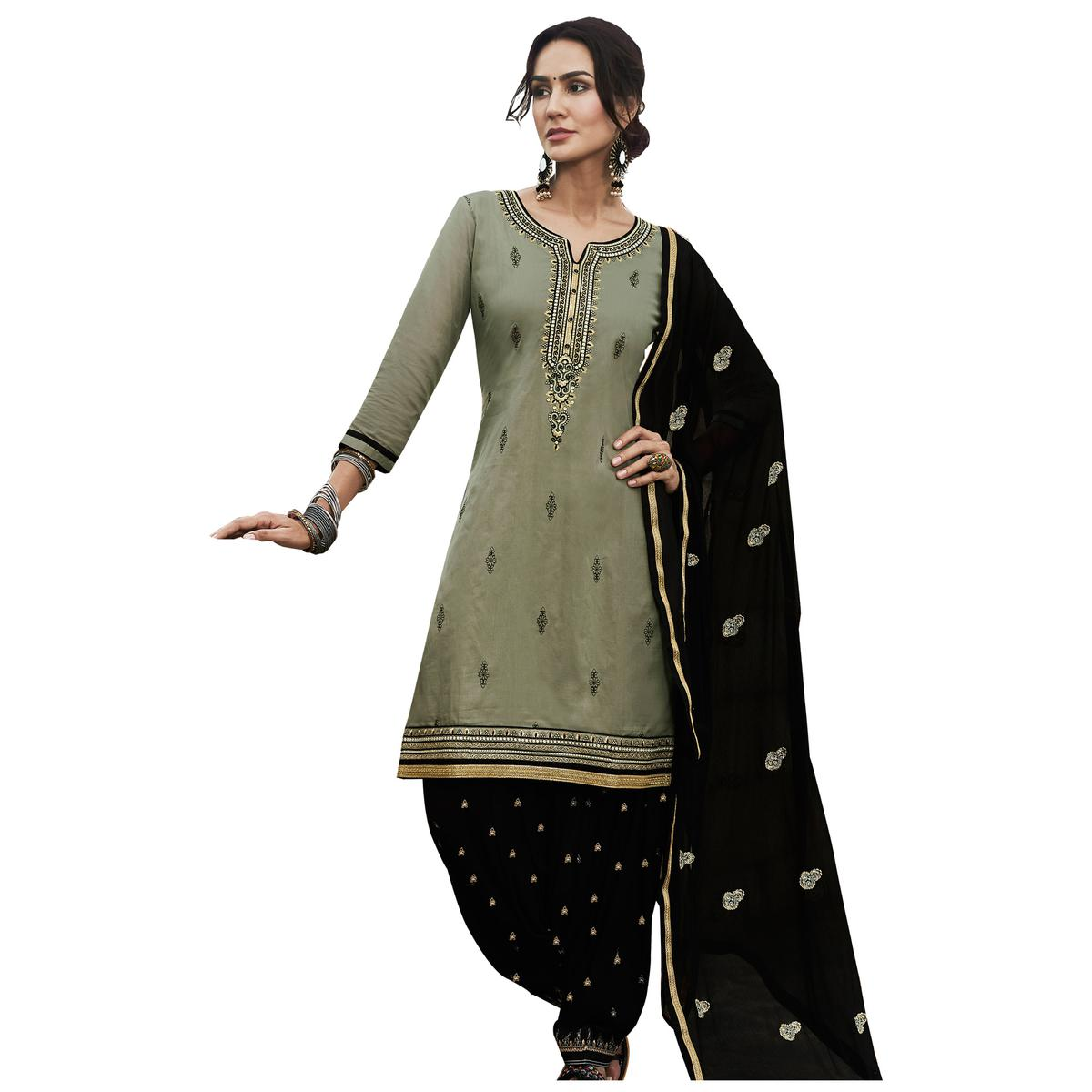 Beautiful Olive Green Colored Partywear Embroidered Cotton Patiala Dress