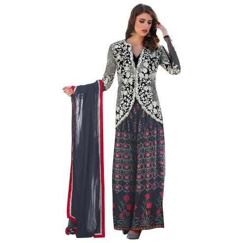 Gray-Black Colored Digital Printed-Embroidered Partywear Jacket Style Cotton Silk Palazzo Suit