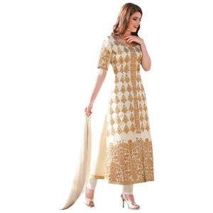 Elegant Off-White Colored Embroidered Partywear Cotton Salwar Suit