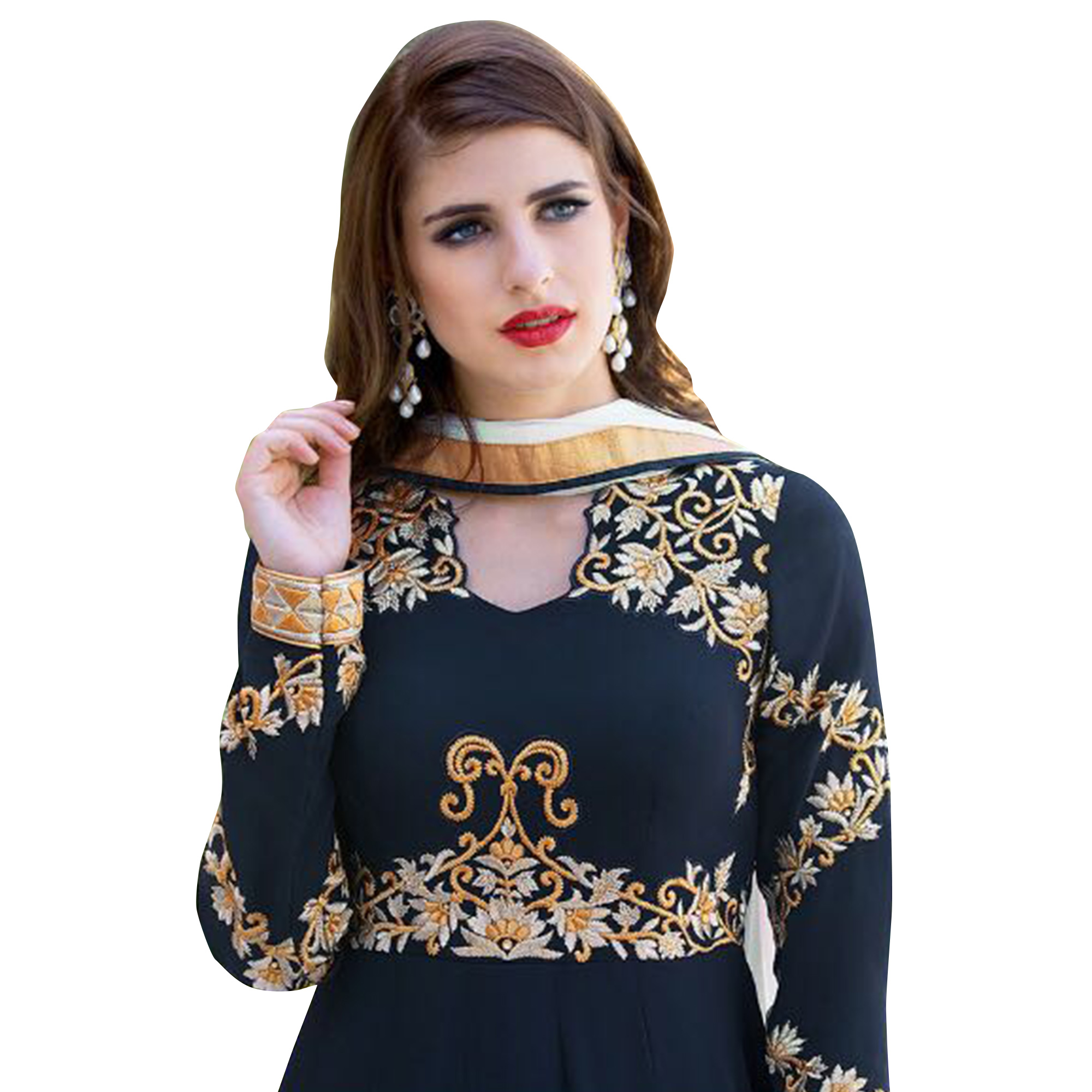Gorgeous Navy Blue Colored Embroidered Partywear Georgette Abaya Style Anarkali Suit