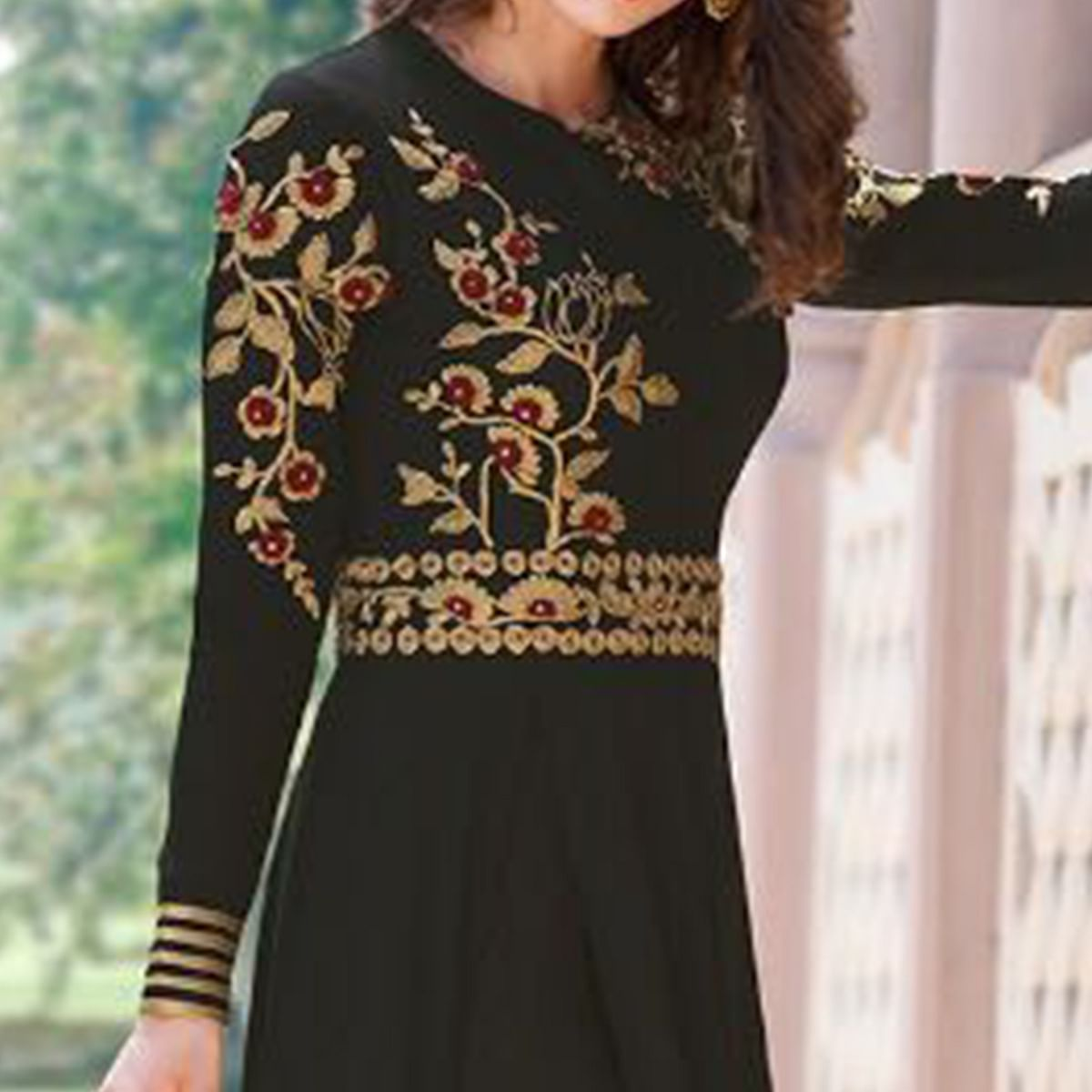 Graceful Black Colored Embroidered Partywear Georgette Abaya Style Suit