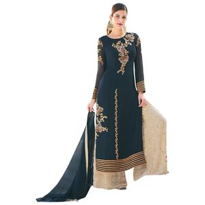 Attractive Teal Green Colored Embroidered Partywear Georgette Palazzo Suit