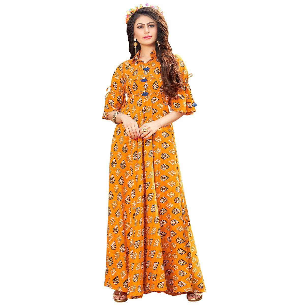 Stylish Orange Colored Printed Partywear Rayon Cotton Long Kurti