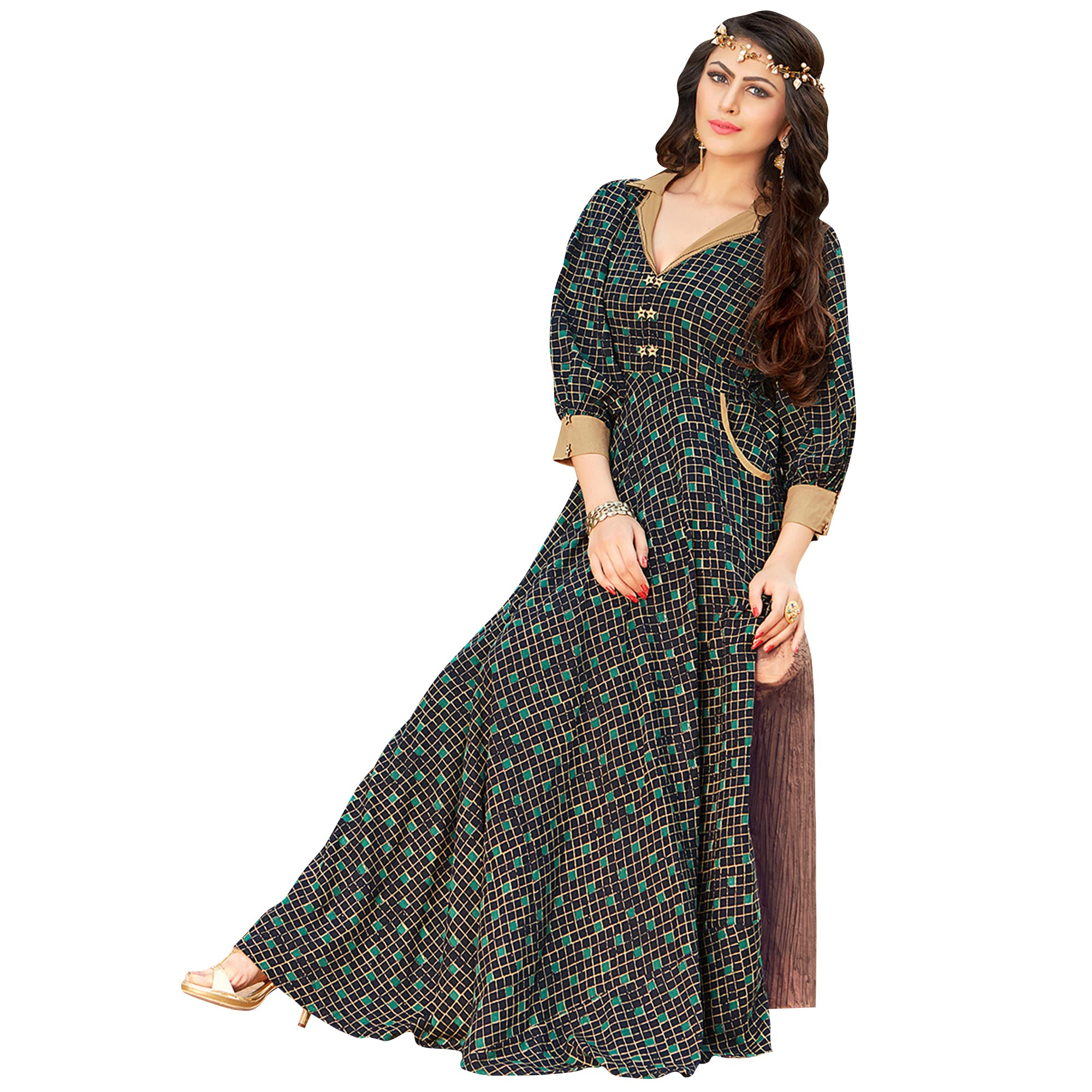 Demanding Navy Blue Colored Printed Partywear Rayon Cotton Long Kurti