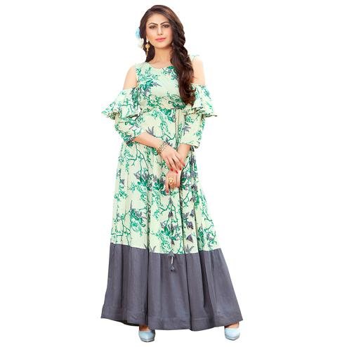 Classy Off-White-Gray Colored Printed Partywear Rayon Cotton Long Kurti
