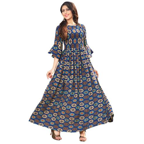 Blooming Blue Colored Printed Partywear Rayon Cotton Long Kurti