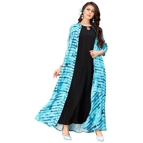 Amazing Sky Blue-Black Colored Printed Partywear Rayon Cotton Long Kurti