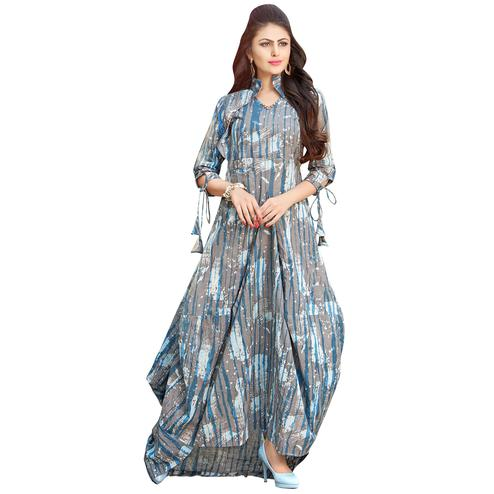 Trendy Gray Colored Printed Partywear Rayon Cotton Long Kurti