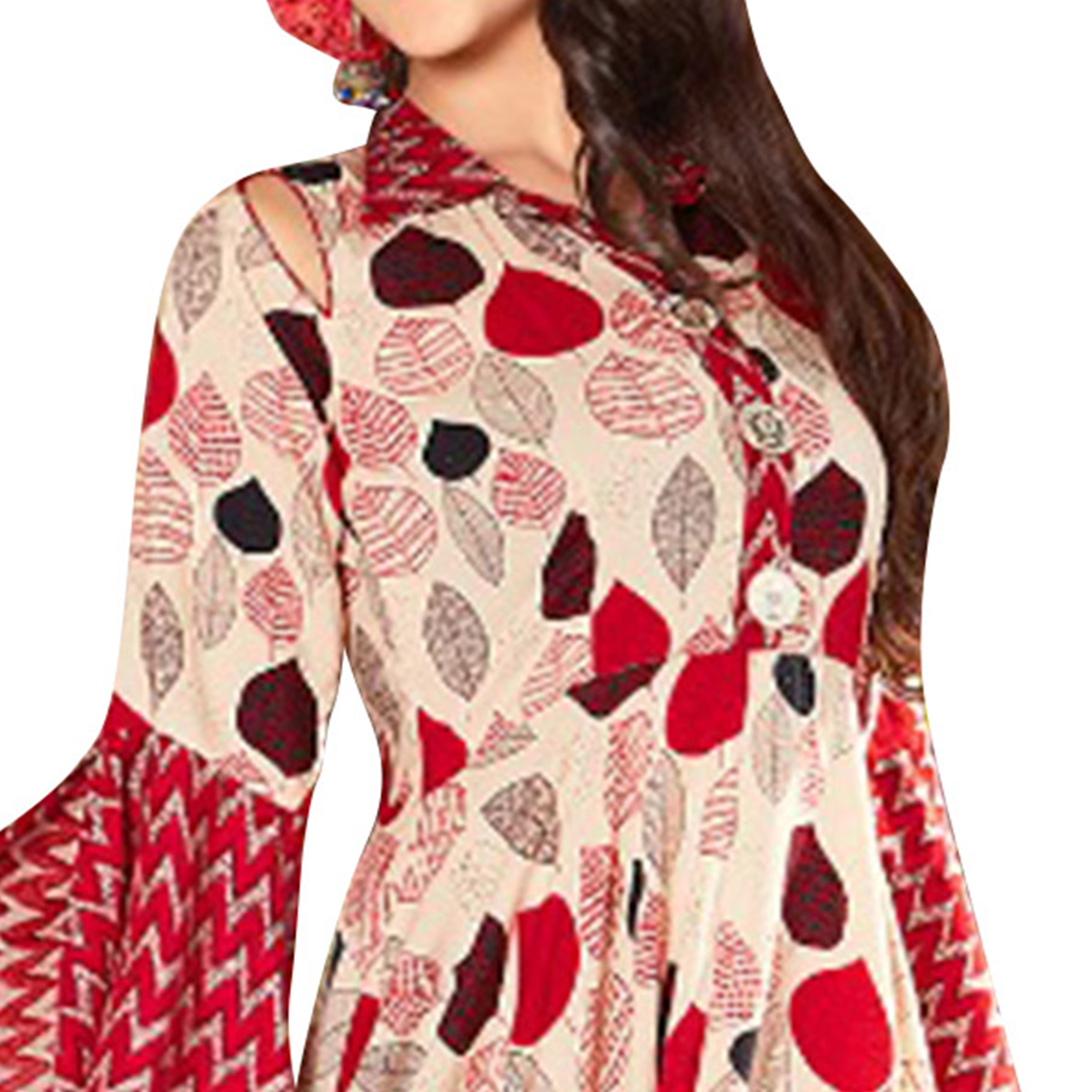 Unique Beige-Red Colored Printed Partywear Rayon Cotton Long Kurti