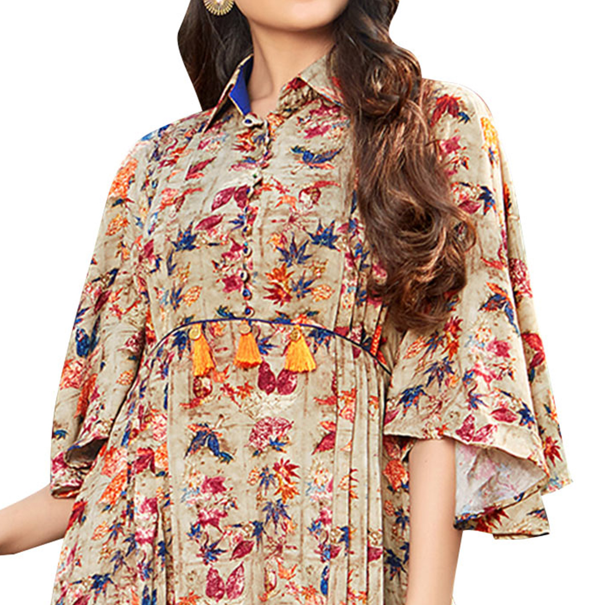 Pleasant Beige Colored Printed Partywear Rayon Cotton Long Kurti