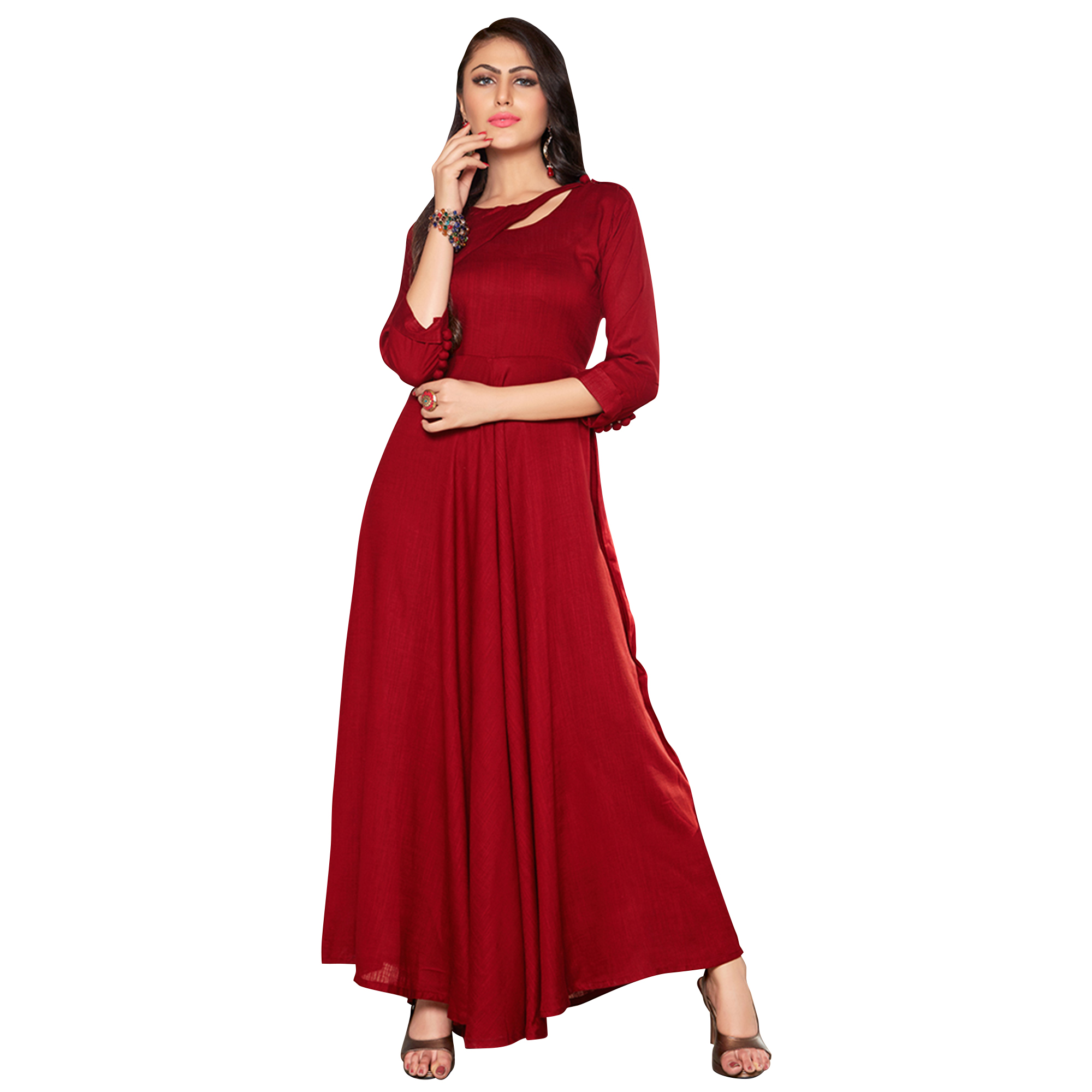 Glowing Red Colored Printed Partywear Rayon Cotton Long Kurti
