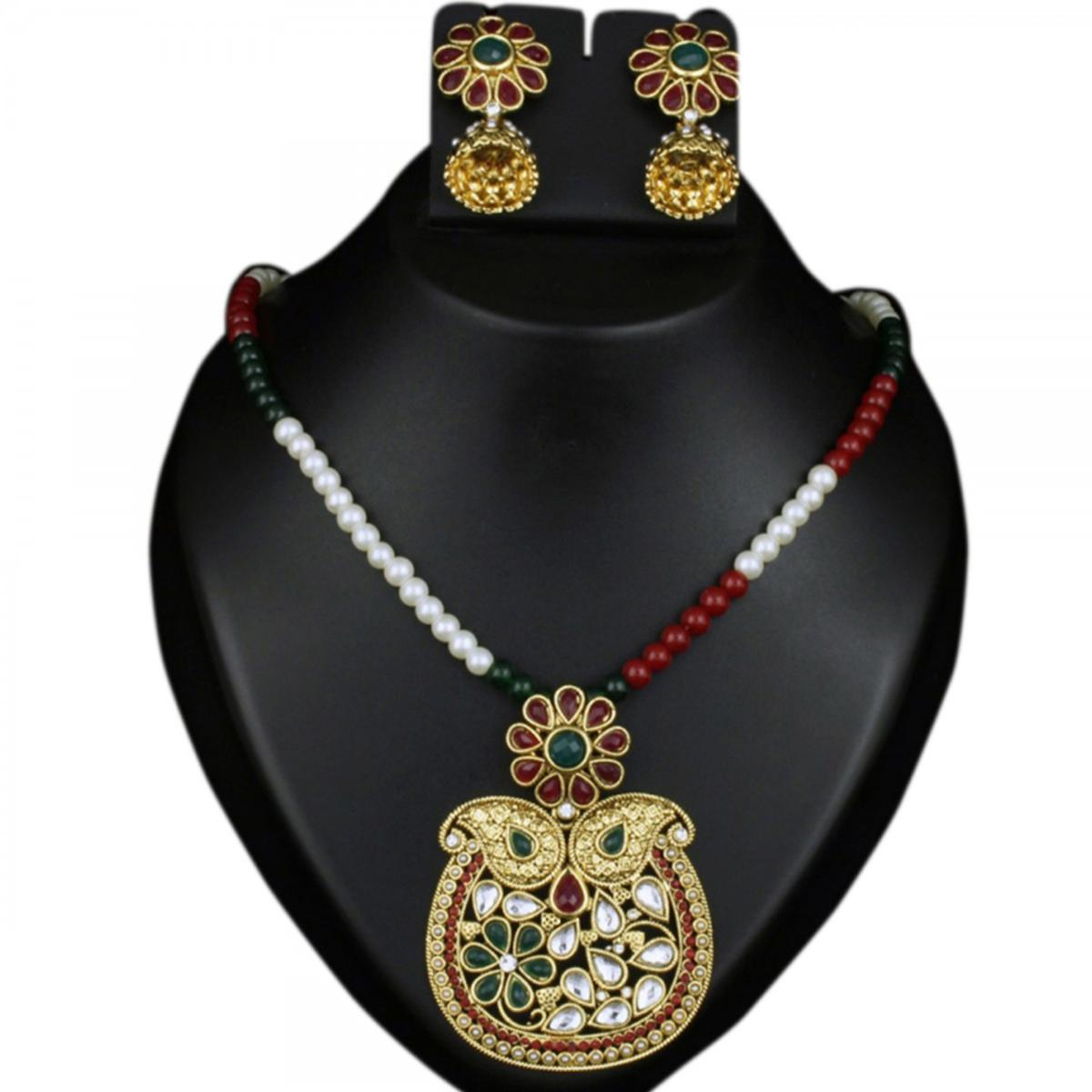 Red & Green Pota Kundan Pearl Gold Finish Necklace Sets