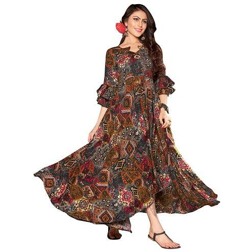 Adorning Multi Colored Printed Partywear Rayon Cotton Long Kurti