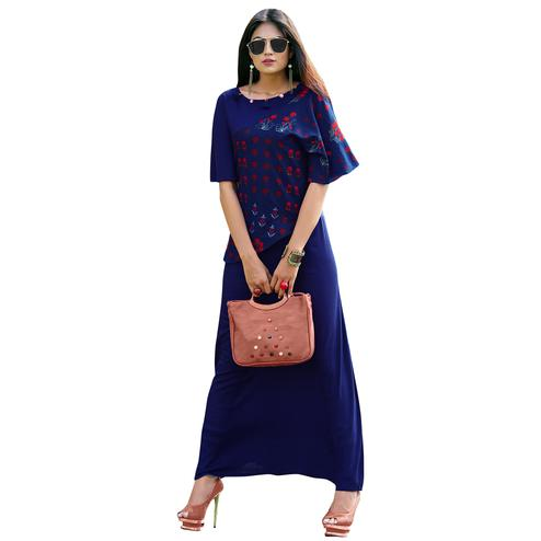 Glowing Blue Colored Partywear Printed Rayon Long Kurti