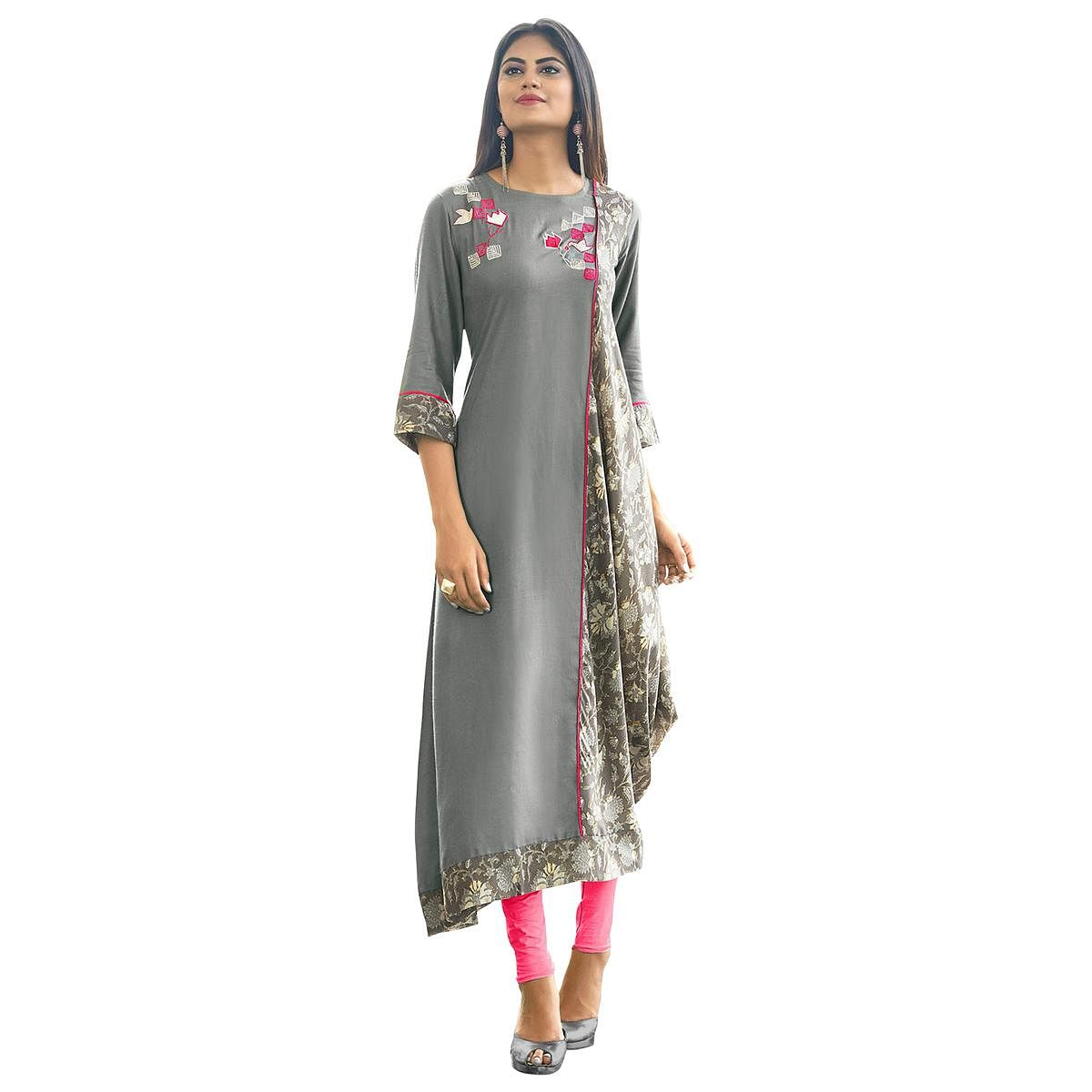 Stylish Gray Colored Partywear Printed Rayon Long Kurti