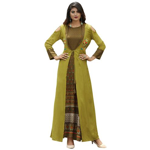 Unique Olive Green Colored Partywear Printed Rayon Long Kurti